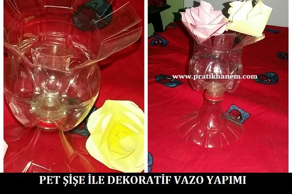 Pet Şişe ile Dekoratif Vazo Yapımı