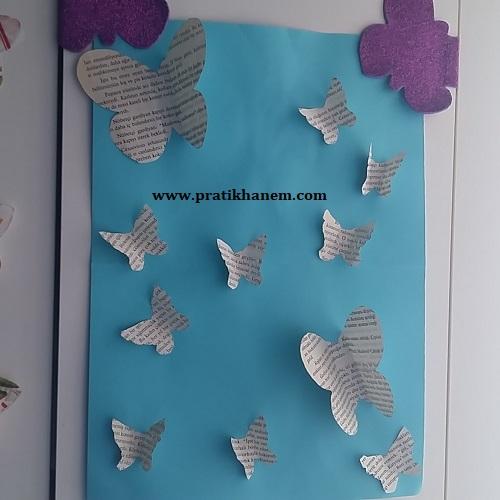Gazete Kağıdı ile Kelebekli Pano Yapımı-1