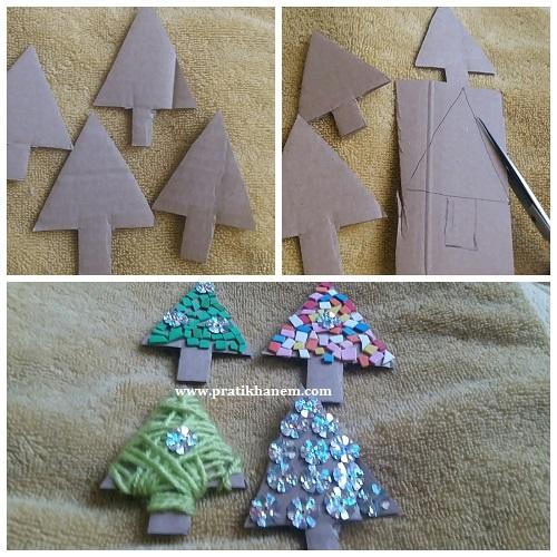 Kartondan Çam Ağacı Süs Yapımı Resimli Anlatım