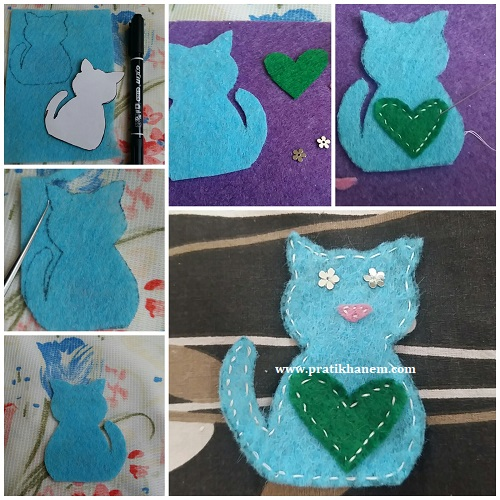 Kedili Kitap Ayracı Yapımı Resimli Anlatım