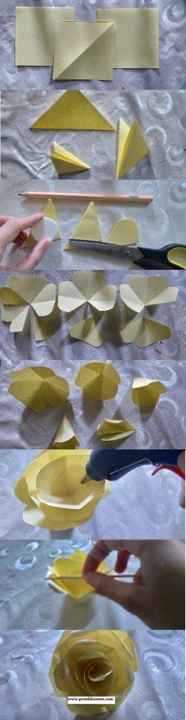 Kağıttan Gül Yapımı Resimli Anlatım