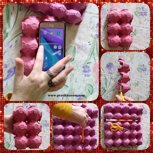 Yumurta Kartonu ile Telefon Standı  Yapımı Resimli Anlatım