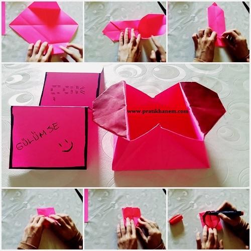 Kağıttan Kalpli Kutu Yapımı Resimli Anlatım
